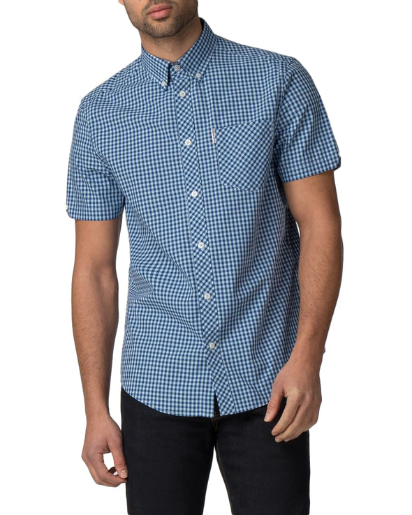 Short-Sleeve Core Gingham Shirt - Sky Blue