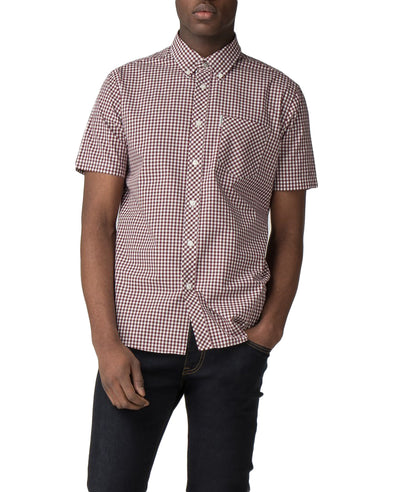 Short Sleeve Core Gingham Shirt - Oxblood