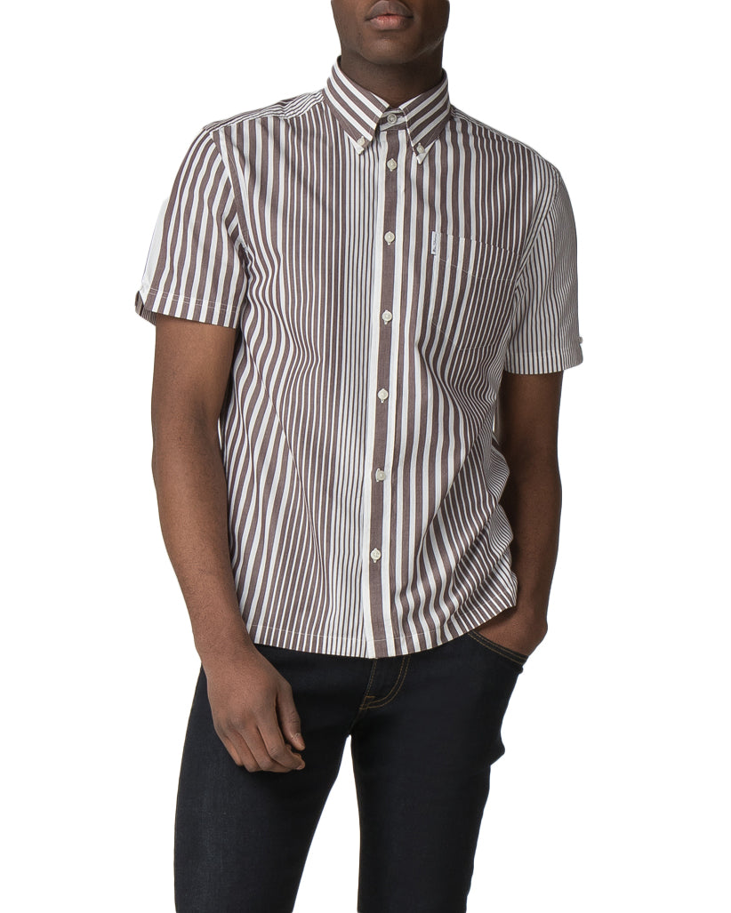 Archive Pinstripe Short Sleeve Shirt - Chocolate