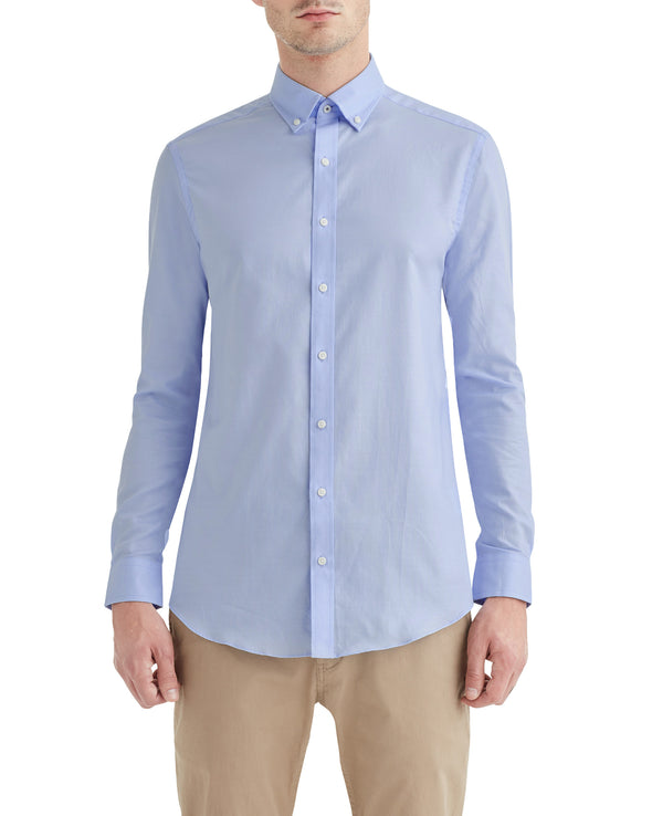 Blue Solid Oxford Slim-Fit Dress Shirt