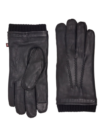 Leather Gloves with Rib Knit Cuff - Black