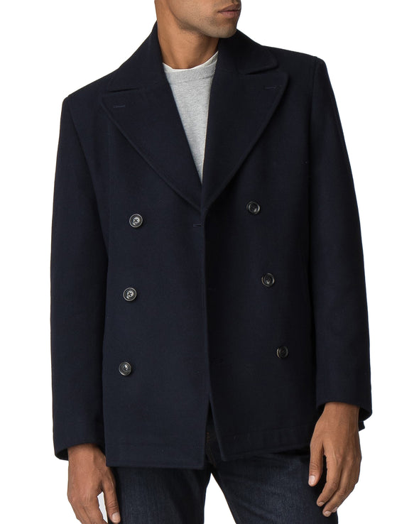 Double-Breasted Wool Peacoat - Dark Navy