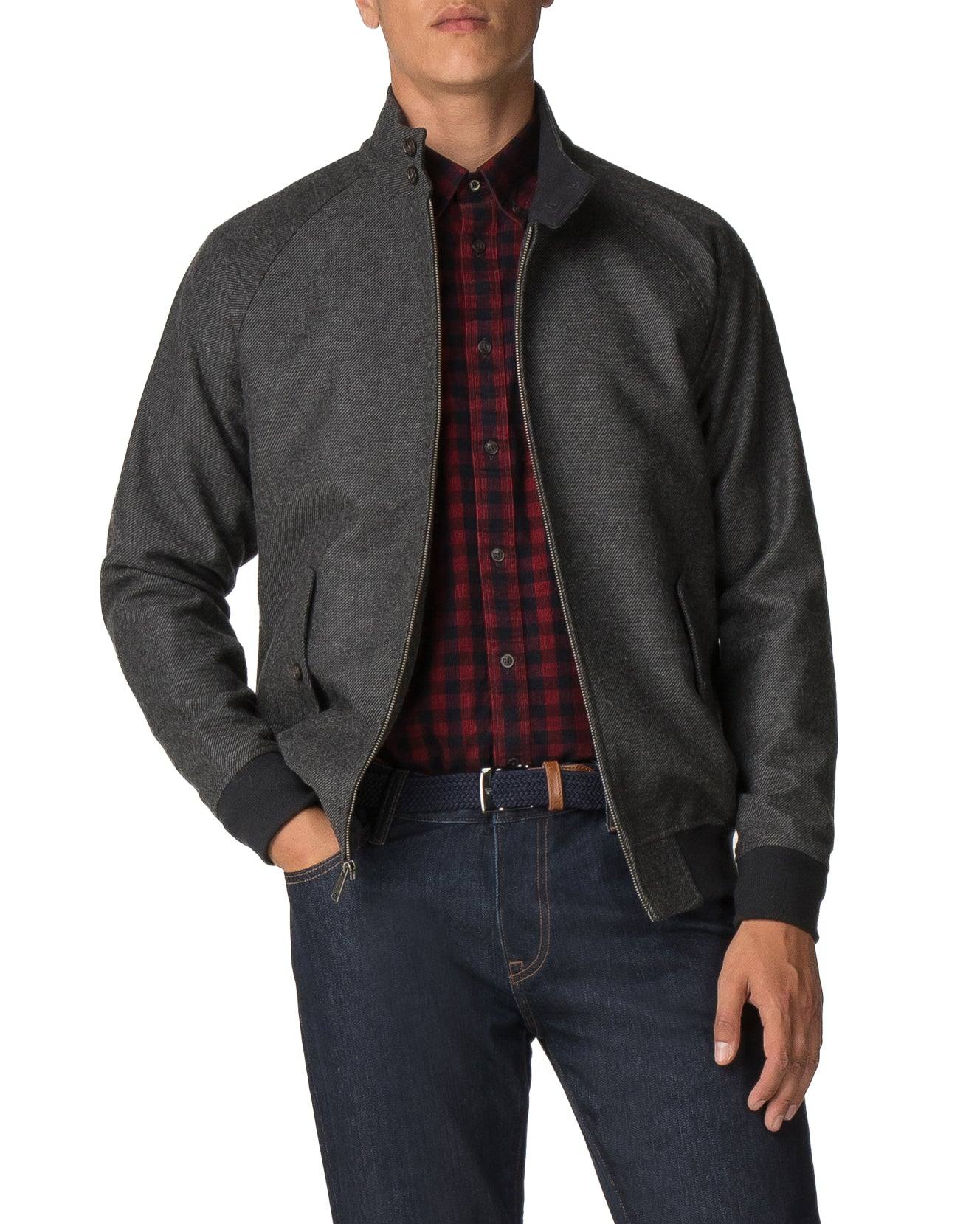 Wool Harrington Jacket - Grey