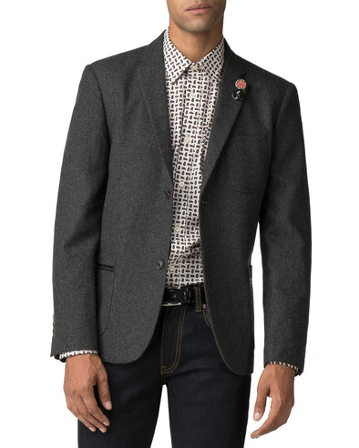 Tipped Flannel Blazer - Charcoal