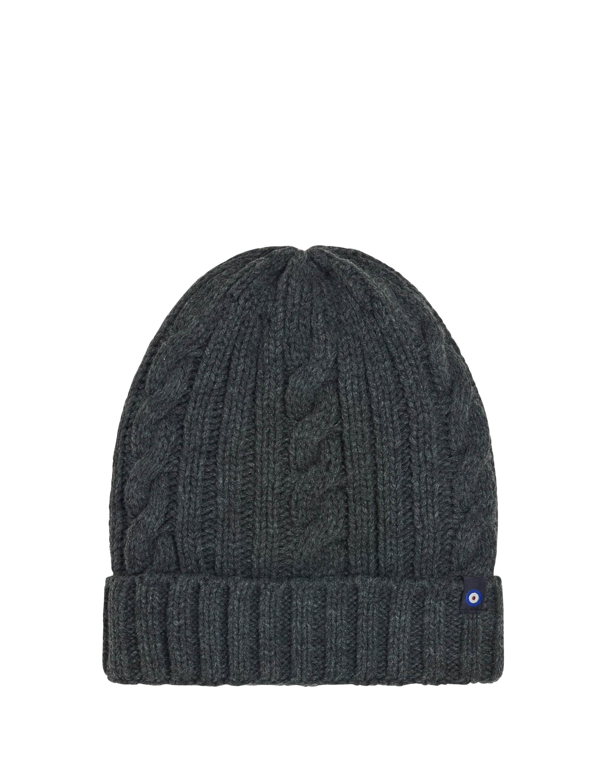 Cable Knit Rib Toque Beanie Hat with Plush Lining - Charcoal