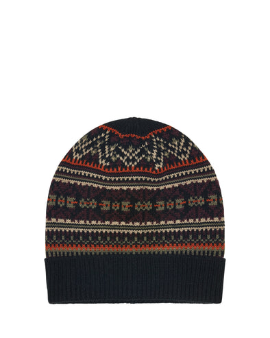 Fair Isle Knit Cuff Toque Beanie Hat - Black