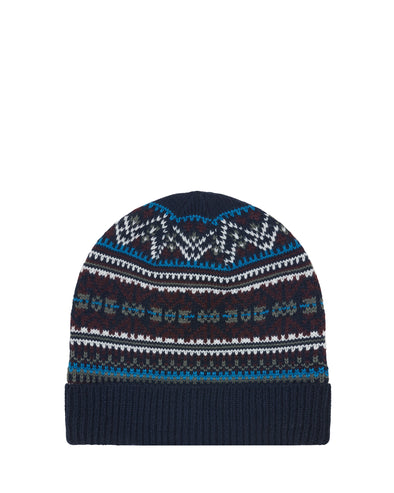 Fair Isle Knit Cuff Toque Beanie Hat - Navy Combo