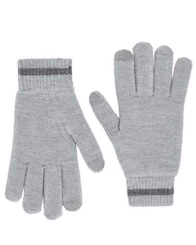 Chenille-Lined Knit Gloves - Charcoal