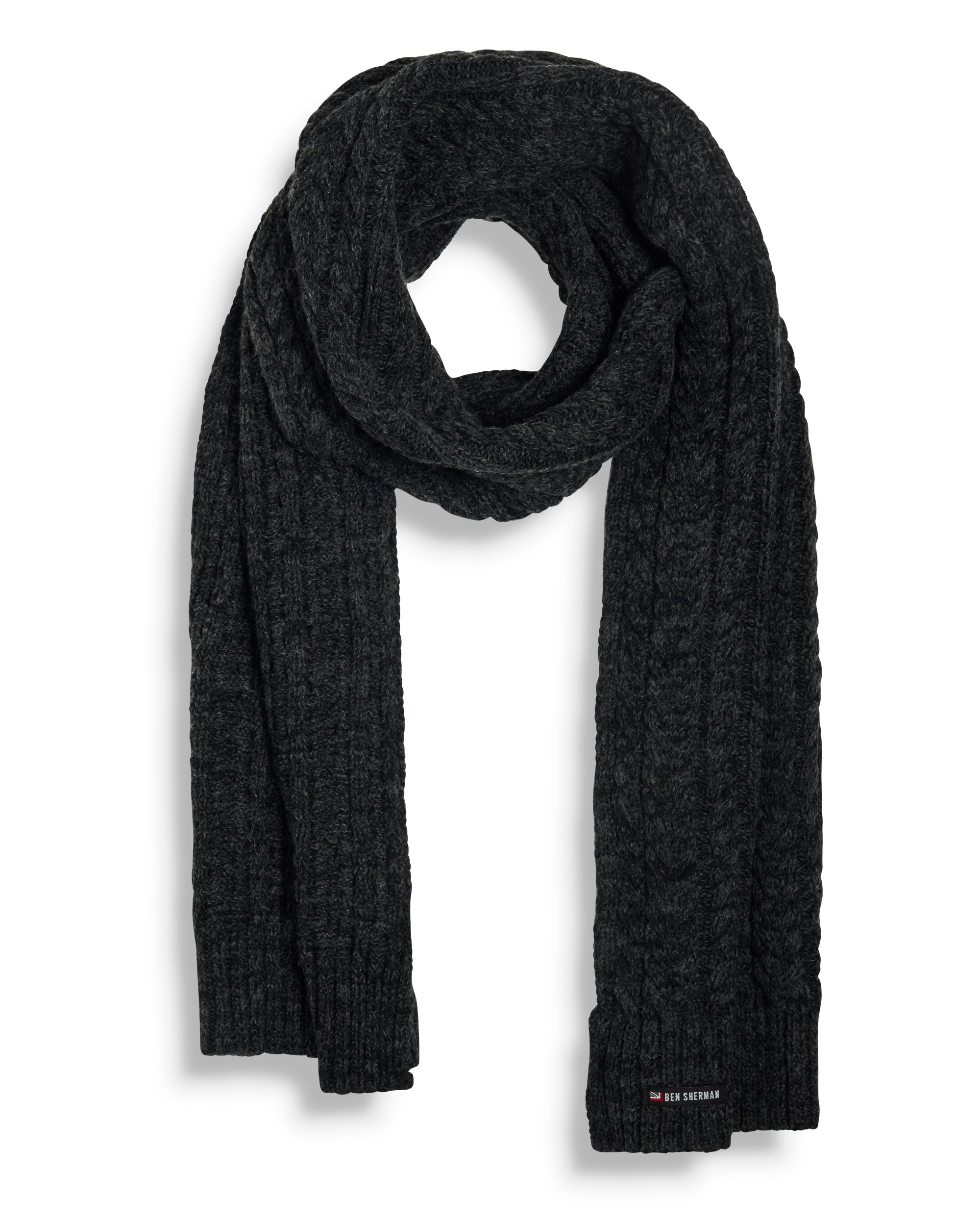 Cable Knit Oblong Scarf - Black