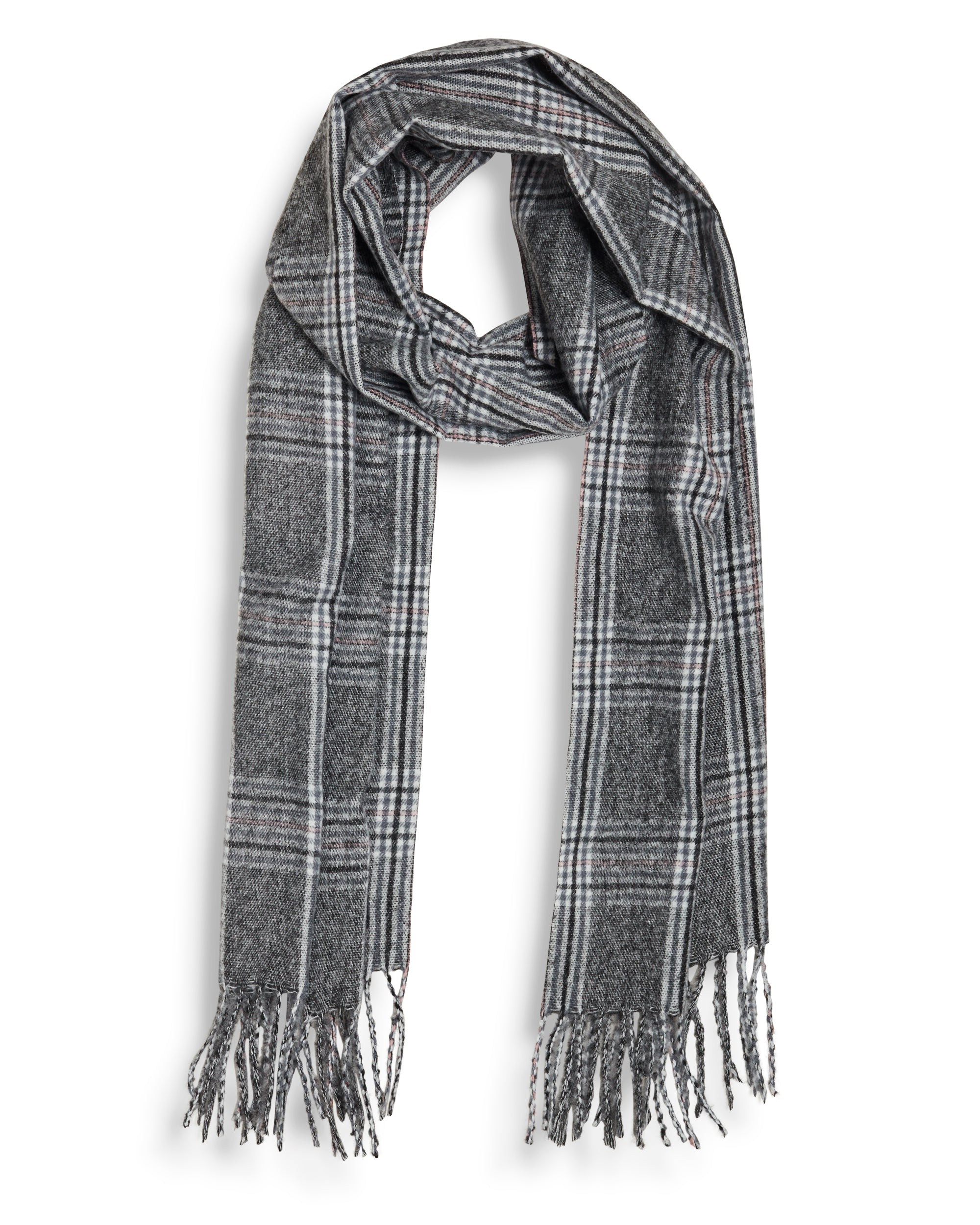Plaid Brushed Scarf - Charcoal