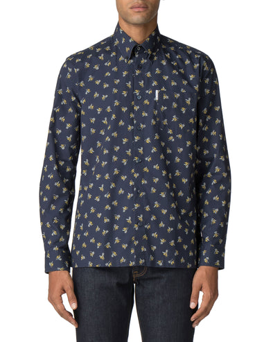 Long-Sleeved Archive Casino Shirt - Navy Blazer