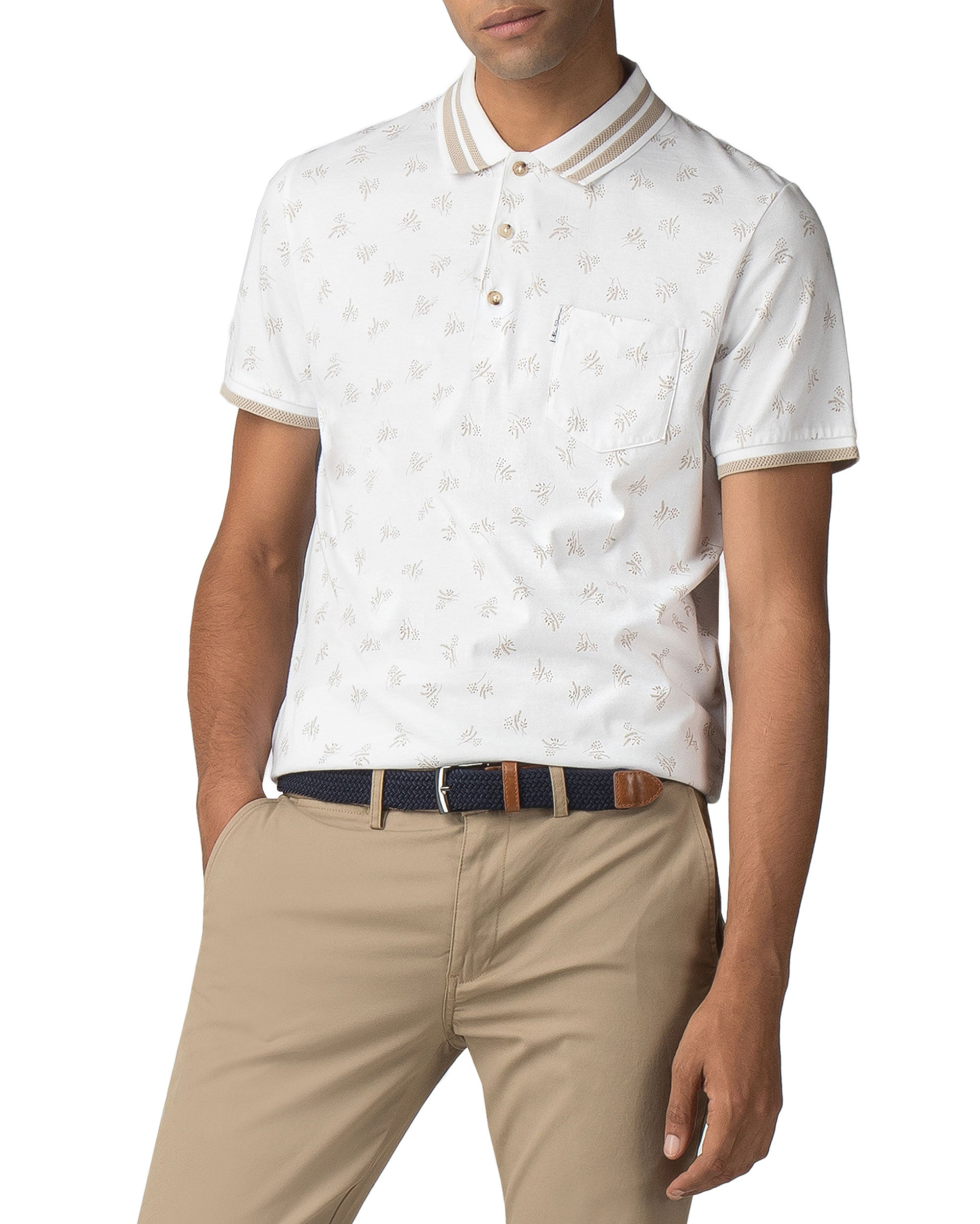 Archive Print Polo - White