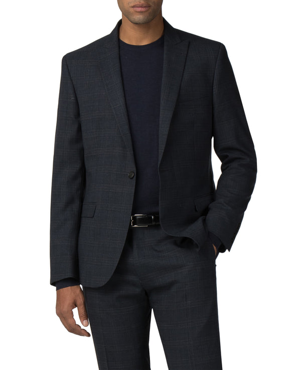 Textured Check Stretch Camden Fit Suit Jacket - Navy