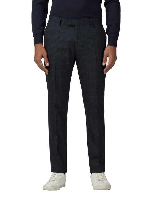 Textured Check Stretch Camden Fit Suit Trouser - Navy