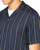 Short-Sleeve Satin Stripe Shirt - Navy Blazer