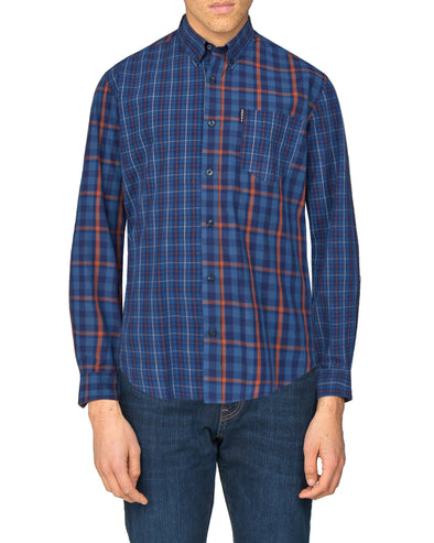Long-Sleeve Mixed Check Shirt - Navy Blazer