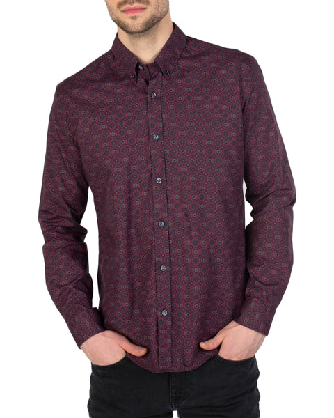 Long-Sleeve Foulard Geo Shirt - Wine
