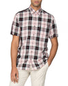 Short-Sleeve Viscose Check Shirt - Pink