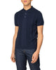 Textured Stripe Front Polo Shirt - Dark Navy