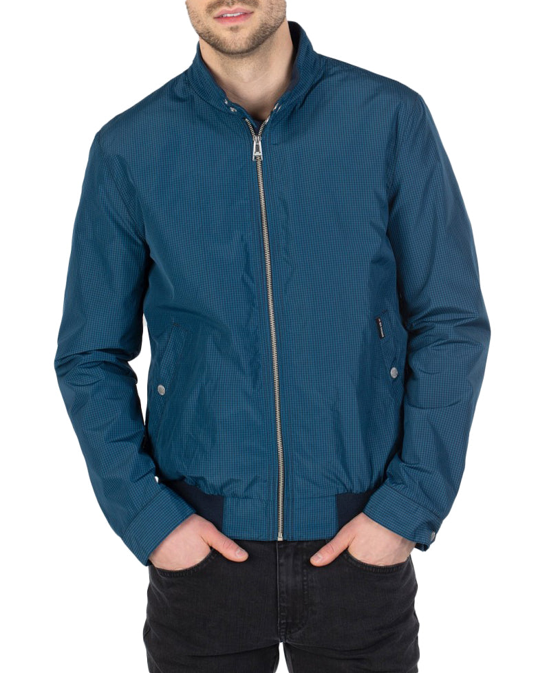 Micro Check Harrington Jacket - Navy