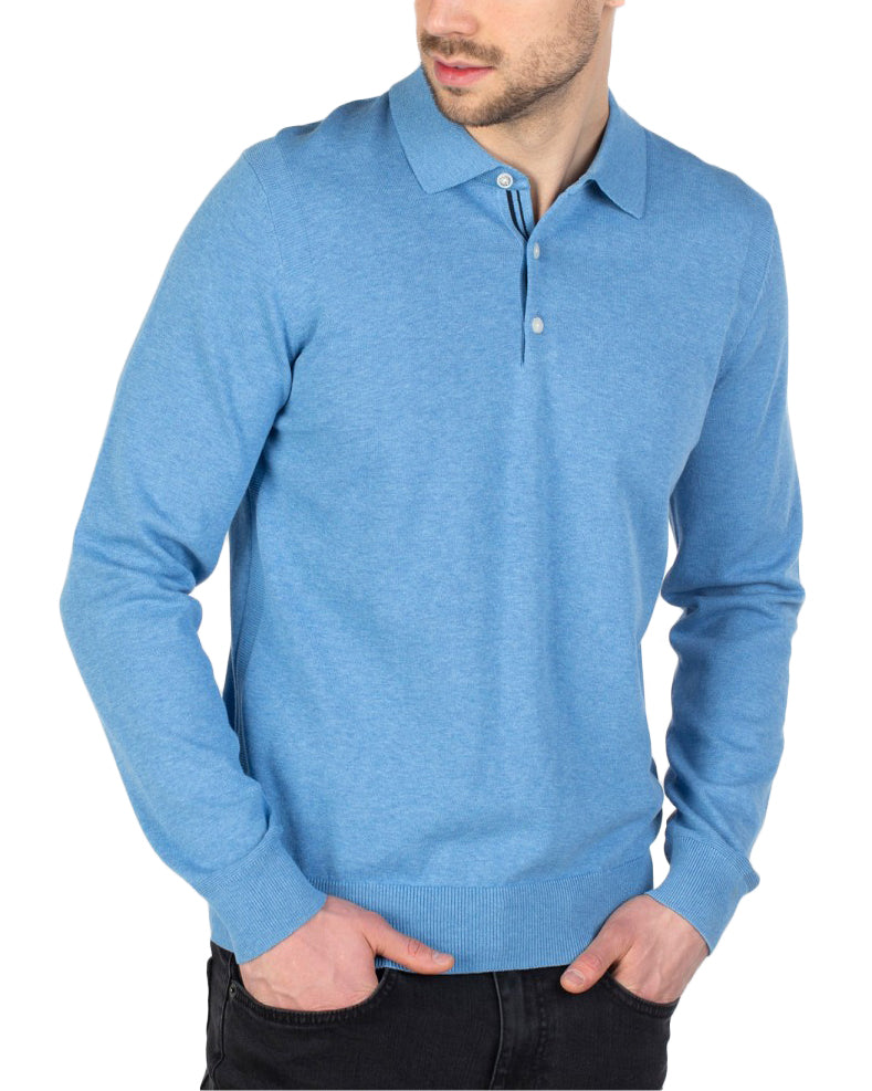 Core Long-Sleeved Knit Polo Shirt - Jazzy Blue