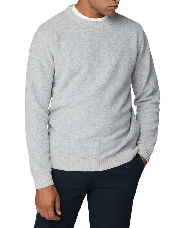 Boucle Knit Crewneck Sweater - Grey