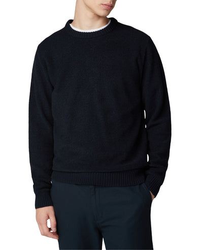 Boucle Knit Crewneck Sweater - Dark Navy