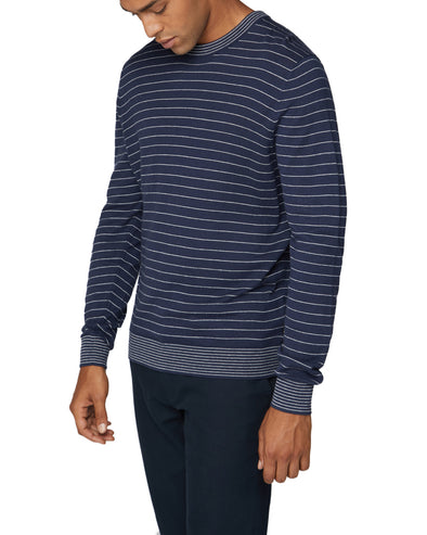 Fine Stripe Knit Crewneck Sweater - Dark Navy