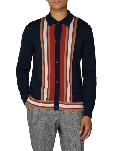 Long-Sleeve Mod Buttoned Polo - Navy