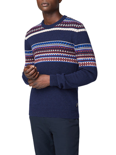 Placed Geo Fair Isle Sweater - Dark Navy