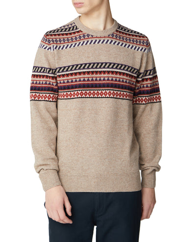 Placed Geo Fair Isle Sweater - Tan