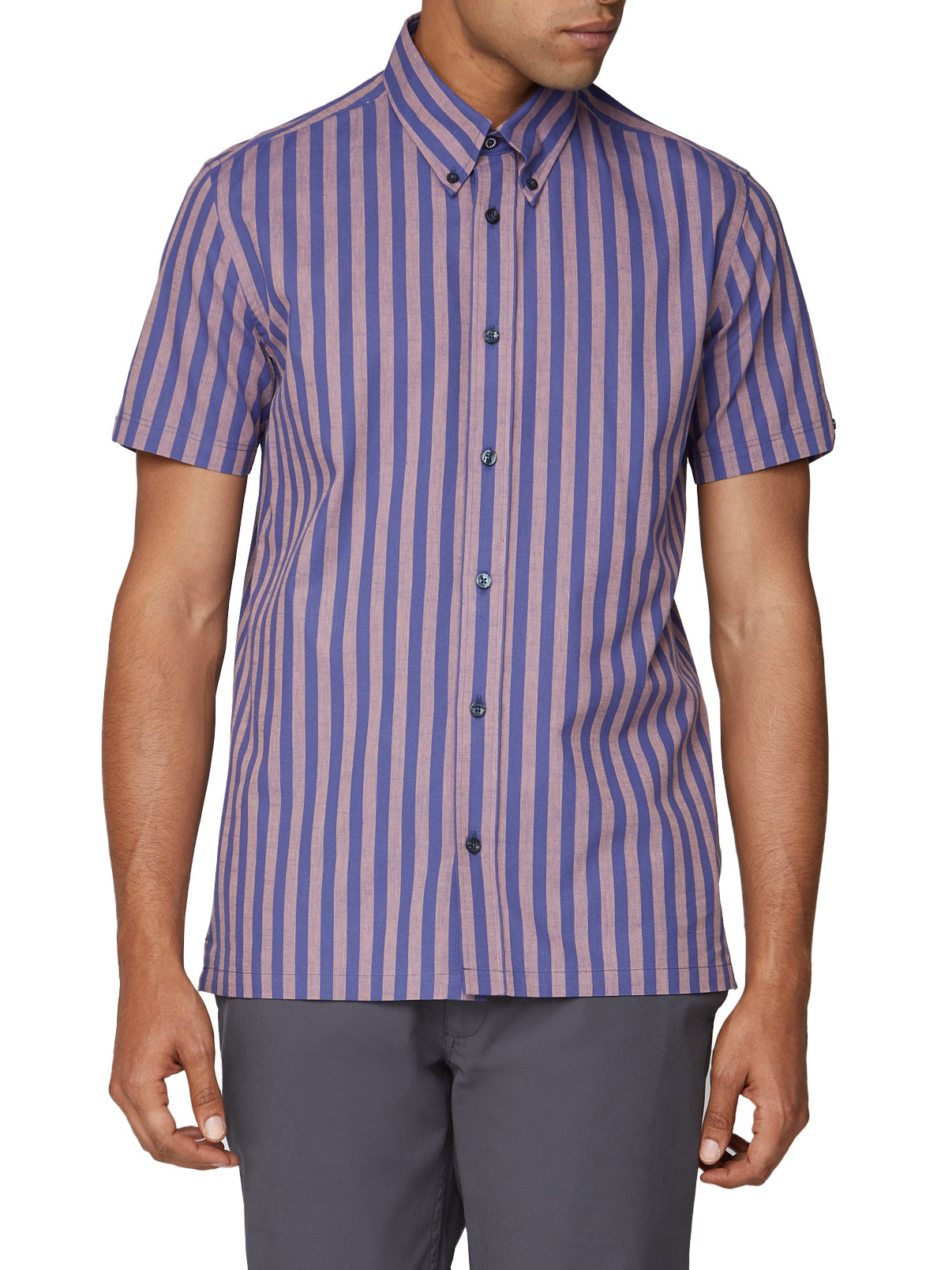 Short Sleeve Vertical Slub Stripe Shirt - Cobalt