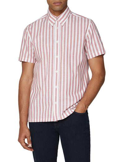 Short Sleeve Vertical Slub Stripe Shirt - Cerise