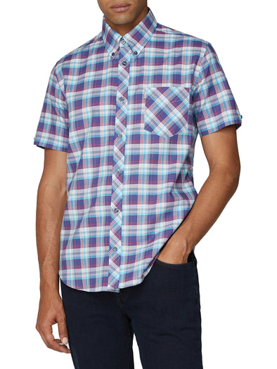 Short Sleeve Ombre Check Shirt - Cobalt