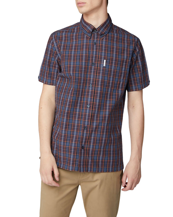 Short-Sleeve Archive Check Shirt - Dark Navy