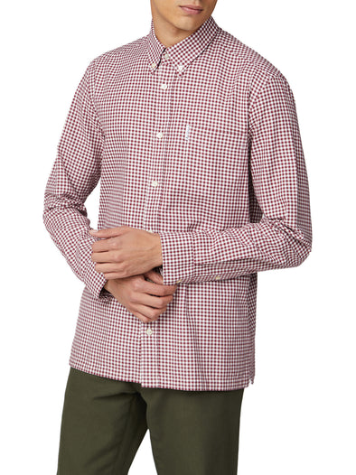 Long-Sleeve Archive Modernist Gingham Shirt - Wine