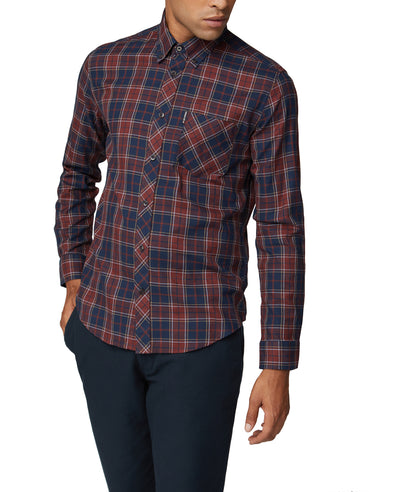 Long-Sleeve Grindle Tartan Shirt - Rust