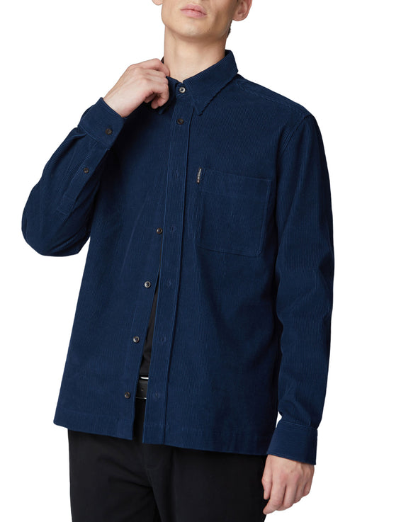 Long-Sleeve Cord Overshirt - Navy