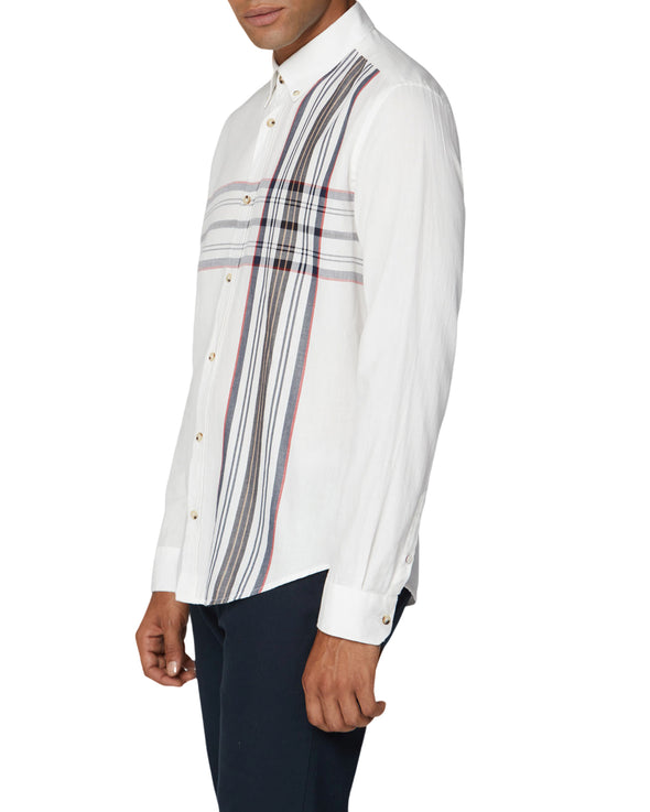 Long-Sleeve Placed Stripe Shirt - Off White
