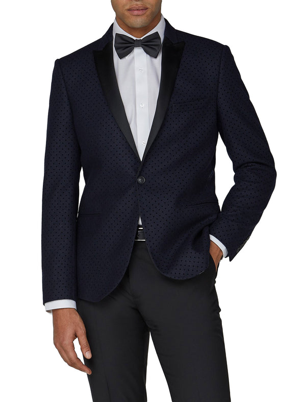 Polka Dot Camden Fit Tuxedo Jacket - Navy
