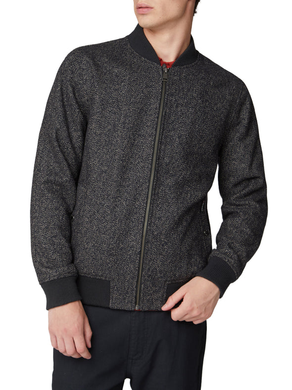 Herringbone Bomber Jacket - Coffee