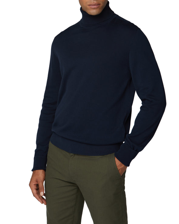 Cotton Roll Neck Sweater - Navy