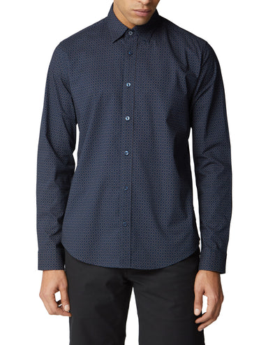 Long-Sleeve Geo Print Shirt - Dark Navy