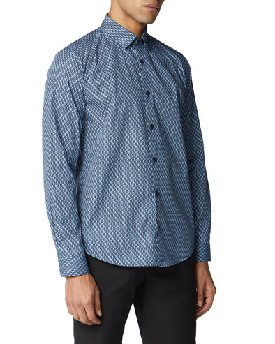 Long-Sleeve Fine Geo Print Shirt - Dark Navy