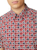 Short-Sleeve Retro Geo Shirt - Red