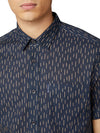 Short-Sleeve Linen Striped Shirt - Dark Navy