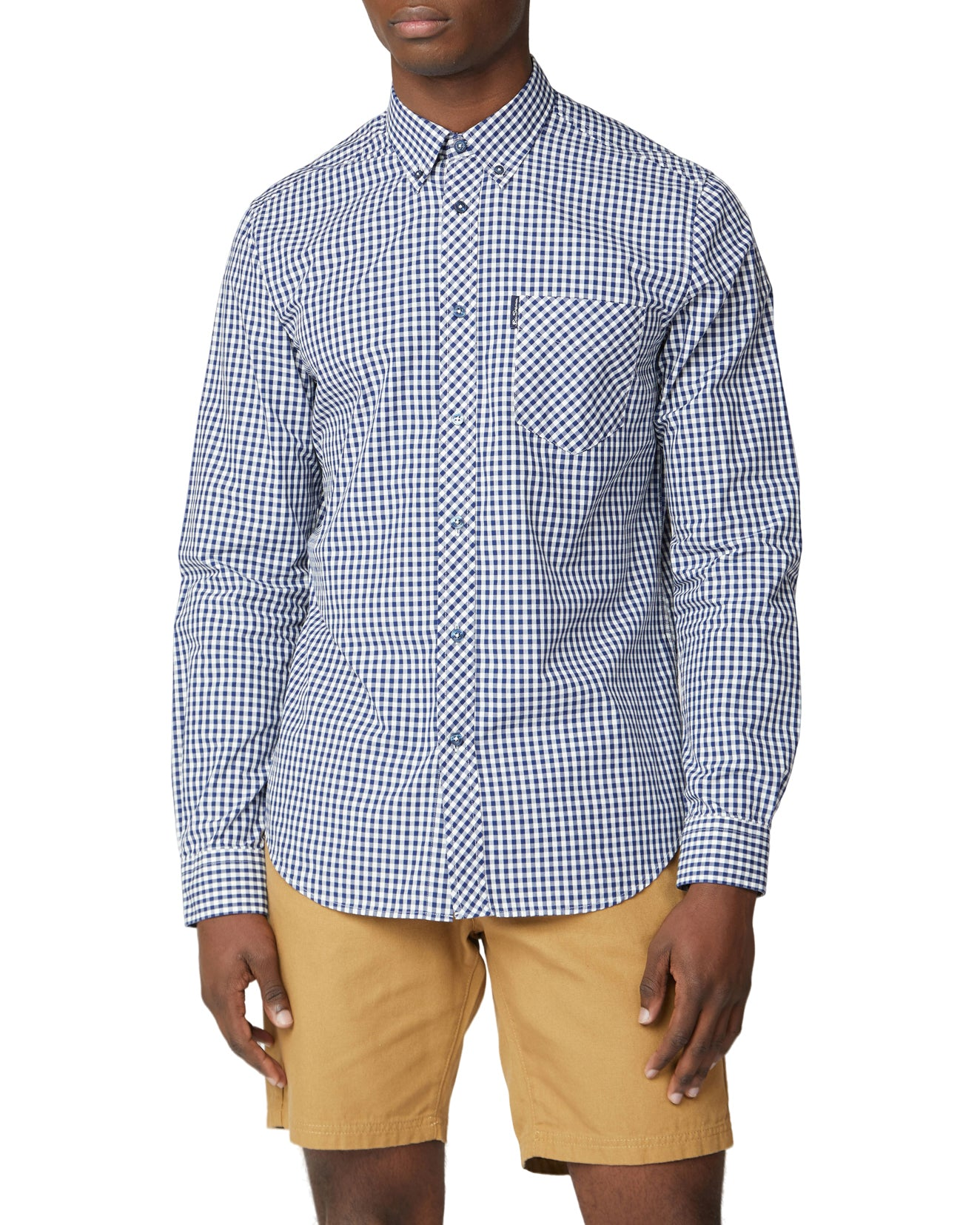 Long-Sleeve Signature Gingham Shirt - Dark Blue
