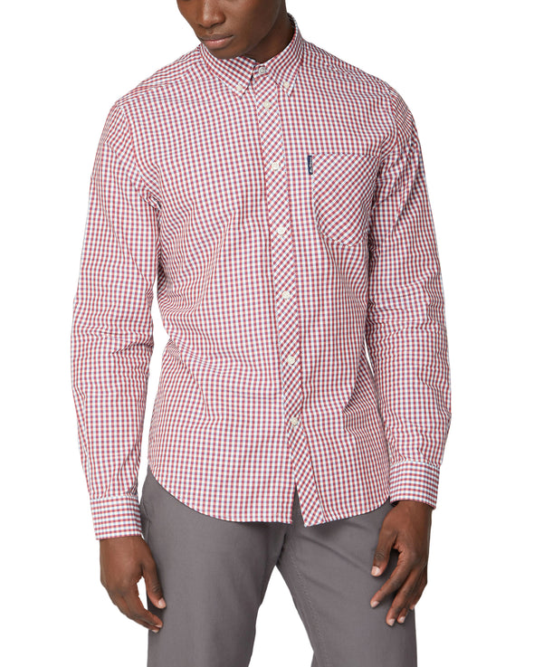 Long-Sleeve Signature Gingham Shirt - Red