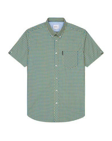 Short-Sleeve Gingham Shirt - Yellow