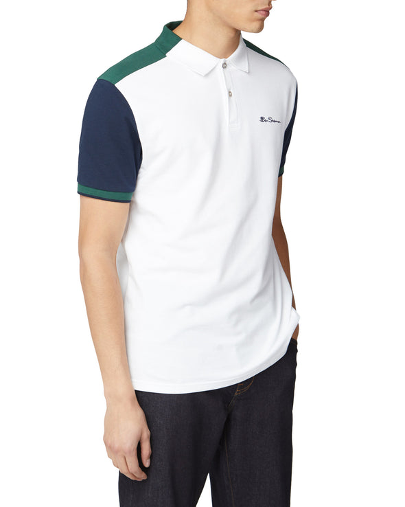 Colorblocked Polo Shirt - White